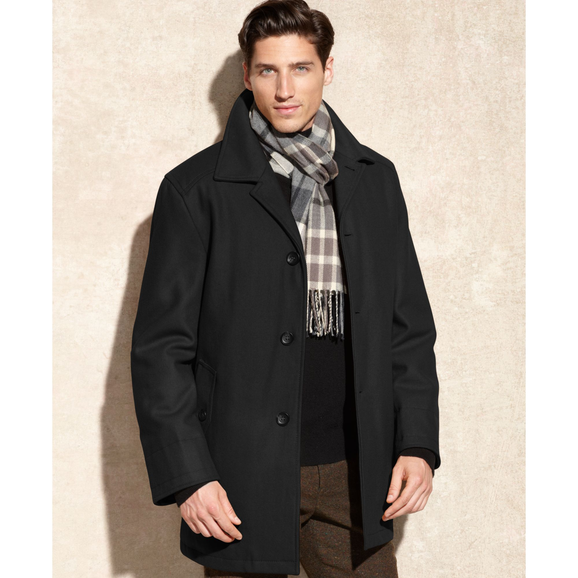 London fog Coat, Alden Wool Car Coat With Scarf in Black for Men ...