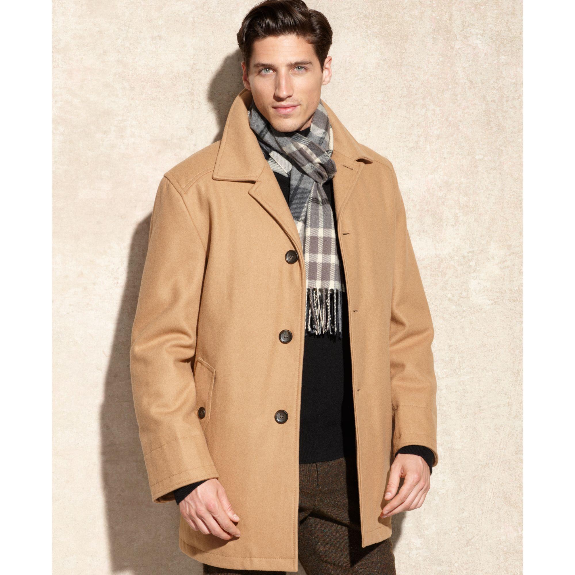 Lyst London Fog Alden Wool Car Coat In Natural For Men