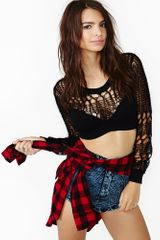 Nasty Gal Web Crop Knit - Lyst
