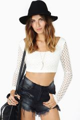 Nasty Gal Restless Lace Crop Top - Lyst
