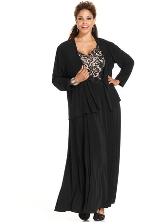 Patra Sleeveless Lace Jersey Gown - Lyst