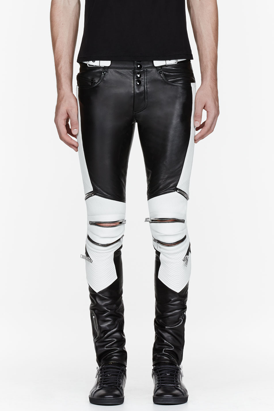 6a648178850bff Saint Laurent Black and White Ribbed Zipped Biker Pants in Black for ...