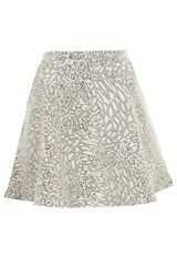 Topshop Cream Animal Jacquard Skater Skirt - Lyst