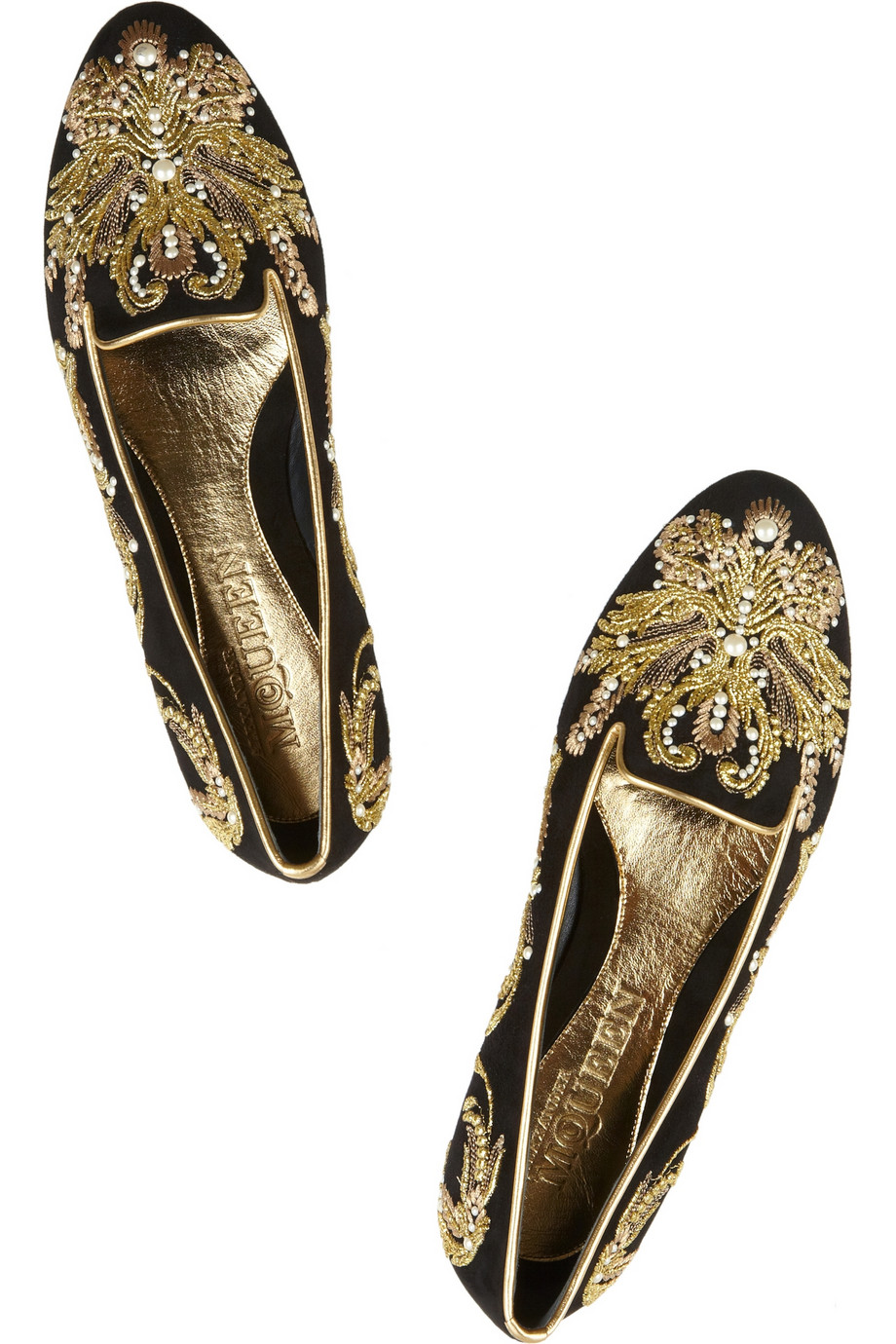 Lyst Alexander Mcqueen Embellished Suede Slippers In Natural