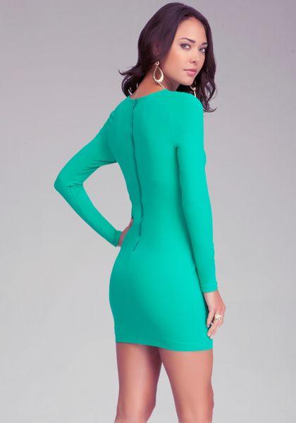 Bebe Leopard Long Sleeve Bodycon Dress In Green Emerald