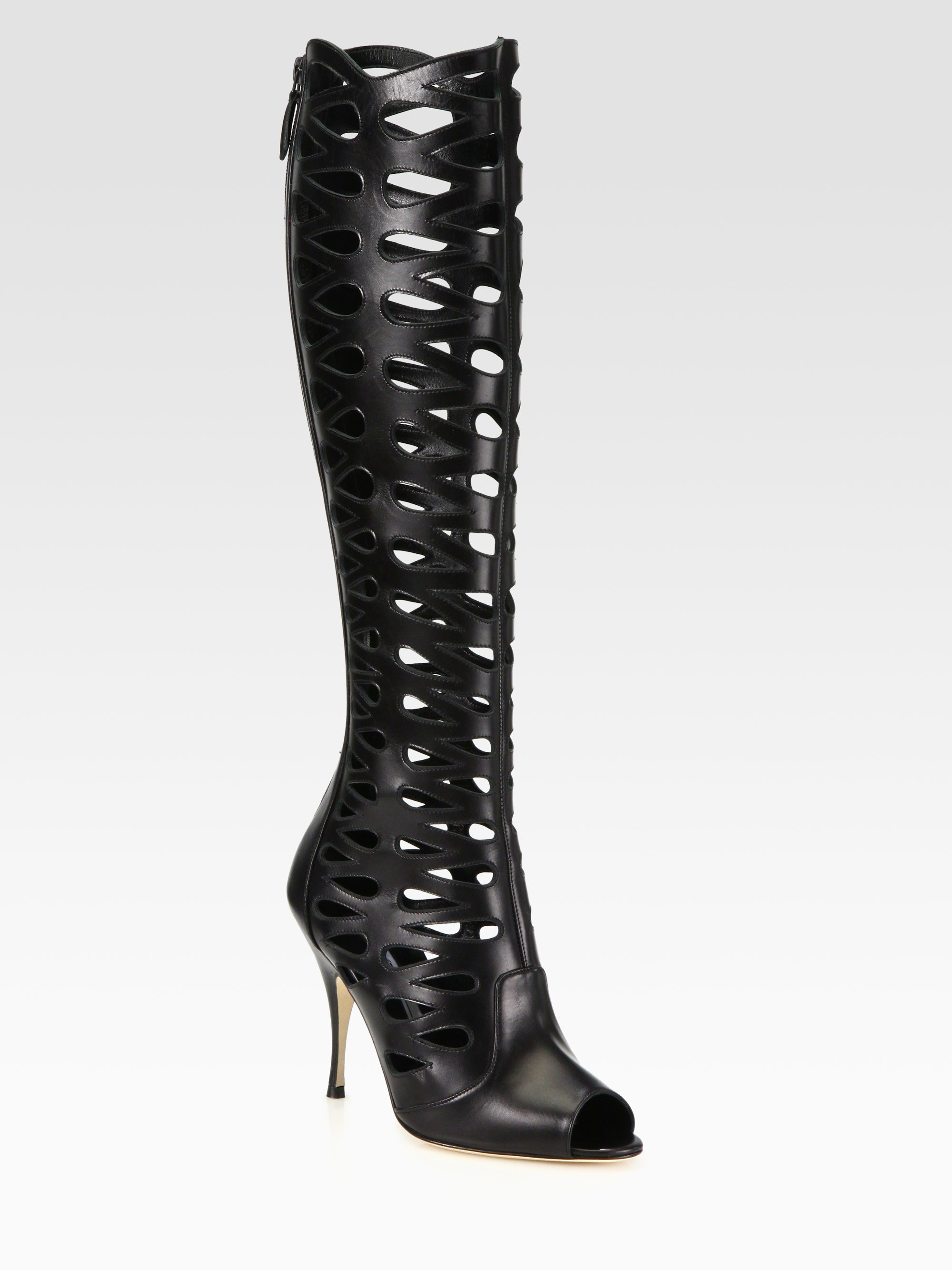 ca761e3a138d73 Lyst - Brian Atwood Electra Leather Cutout Knee high Boots in Black