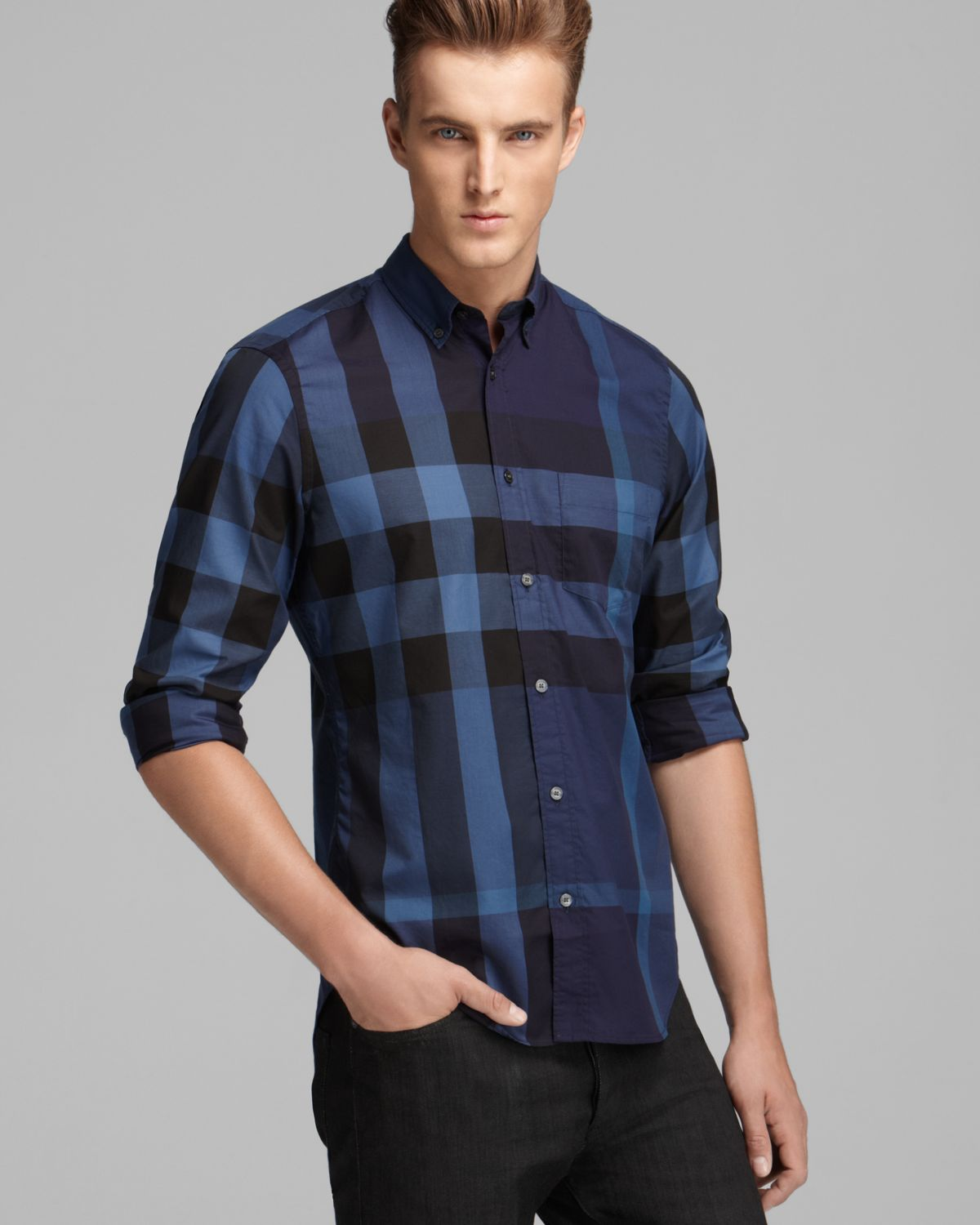 25c38b467 Burberry Brit Fred Check Sport Shirt Slim Fit in Blue for Men - Lyst