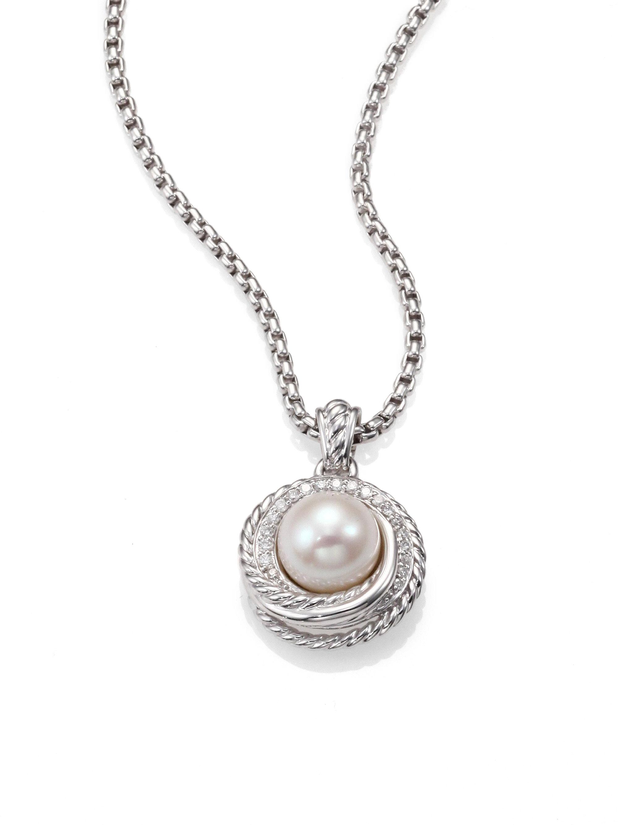 david yurman pearl diamond sterling silver pendant. Black Bedroom Furniture Sets. Home Design Ideas