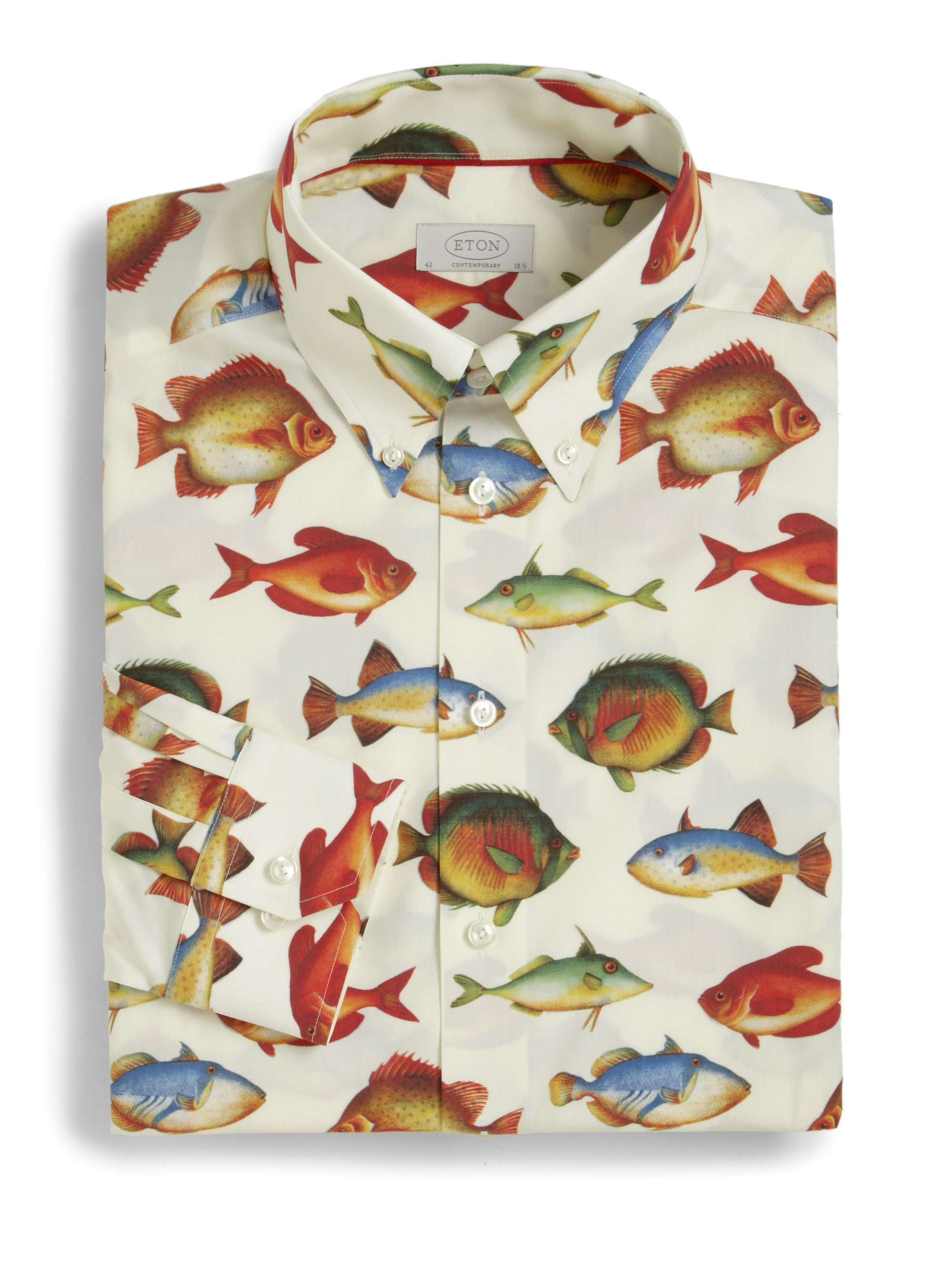 Eton of sweden contemporaryfit fish print dress shirt in for Fish print dress