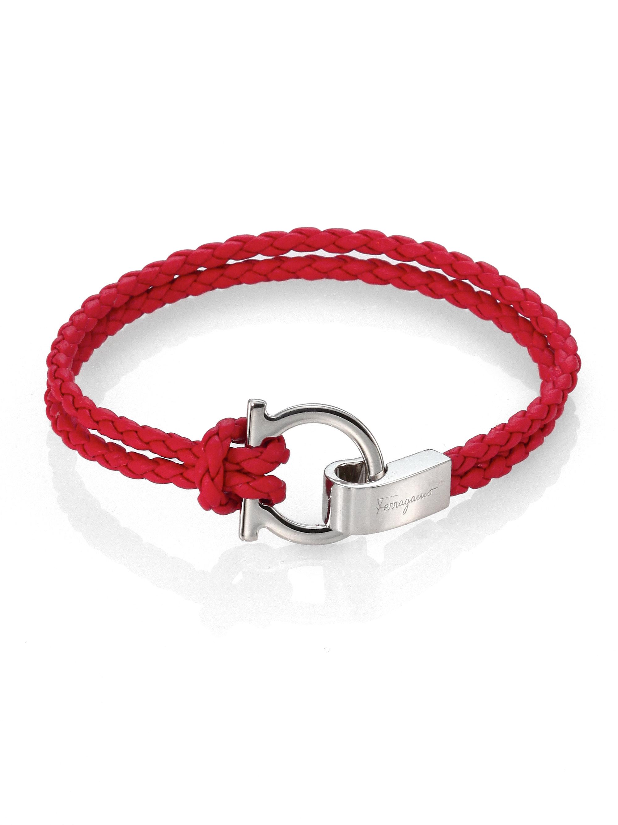 Ferragamo Braided Leather Gancini Bracelet In Red For Men