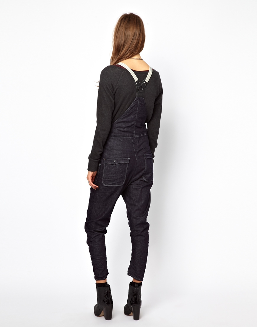 g star raw denim dungaress in black lyst. Black Bedroom Furniture Sets. Home Design Ideas
