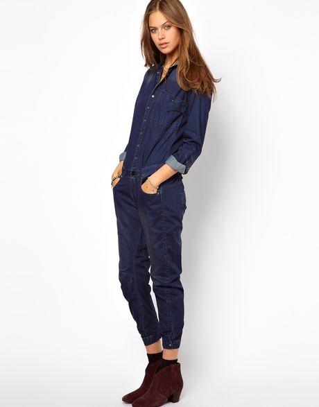 g star raw denim jumpsuit in blue darkblue lyst. Black Bedroom Furniture Sets. Home Design Ideas