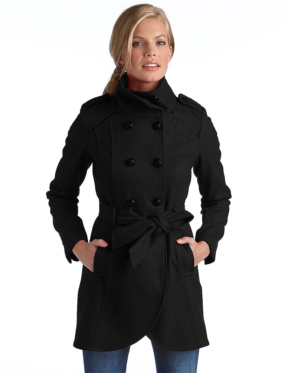 Guess Belted Double Breasted Wool Coat In Black Lyst