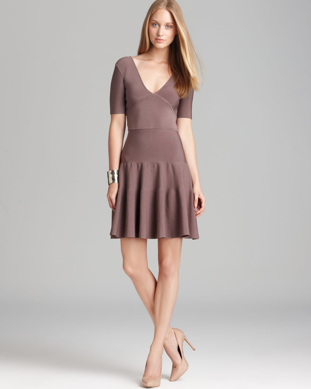 Lyst - Issa Fit and Flare Dress Short Sleeve in Brown fa89d6f740bf