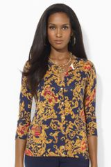 Lauren by Ralph Lauren Printed Silk Cotton Cardigan - Lyst