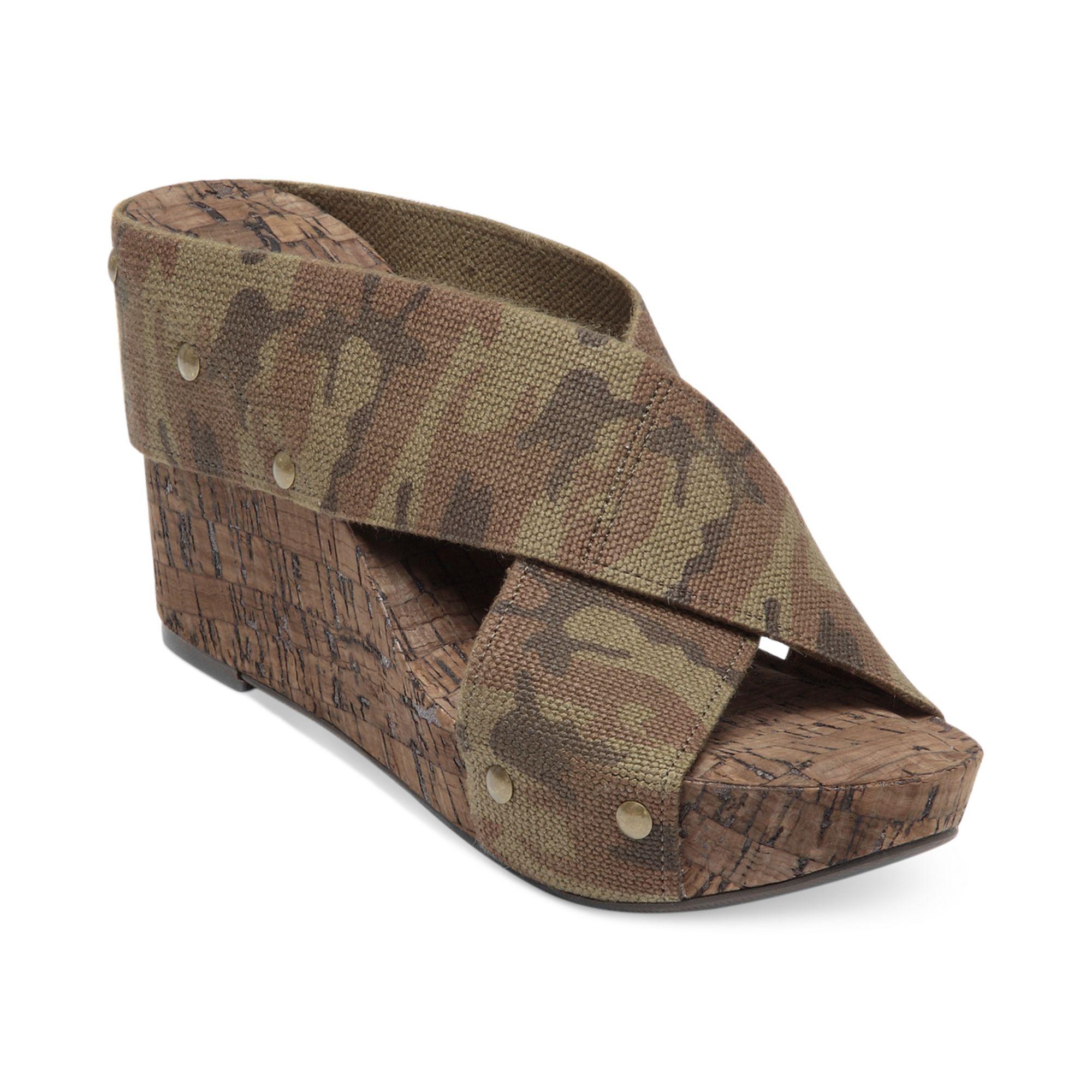 lucky brand miller2 wedge sandals in khaki camo lyst