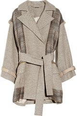 Matthew Williamson Paneled Wool Blend and Jacquard Coat - Lyst