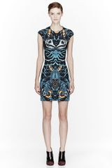 McQ by Alexander McQueen Dark Teal Interlock Shell Print Short Dress - Lyst