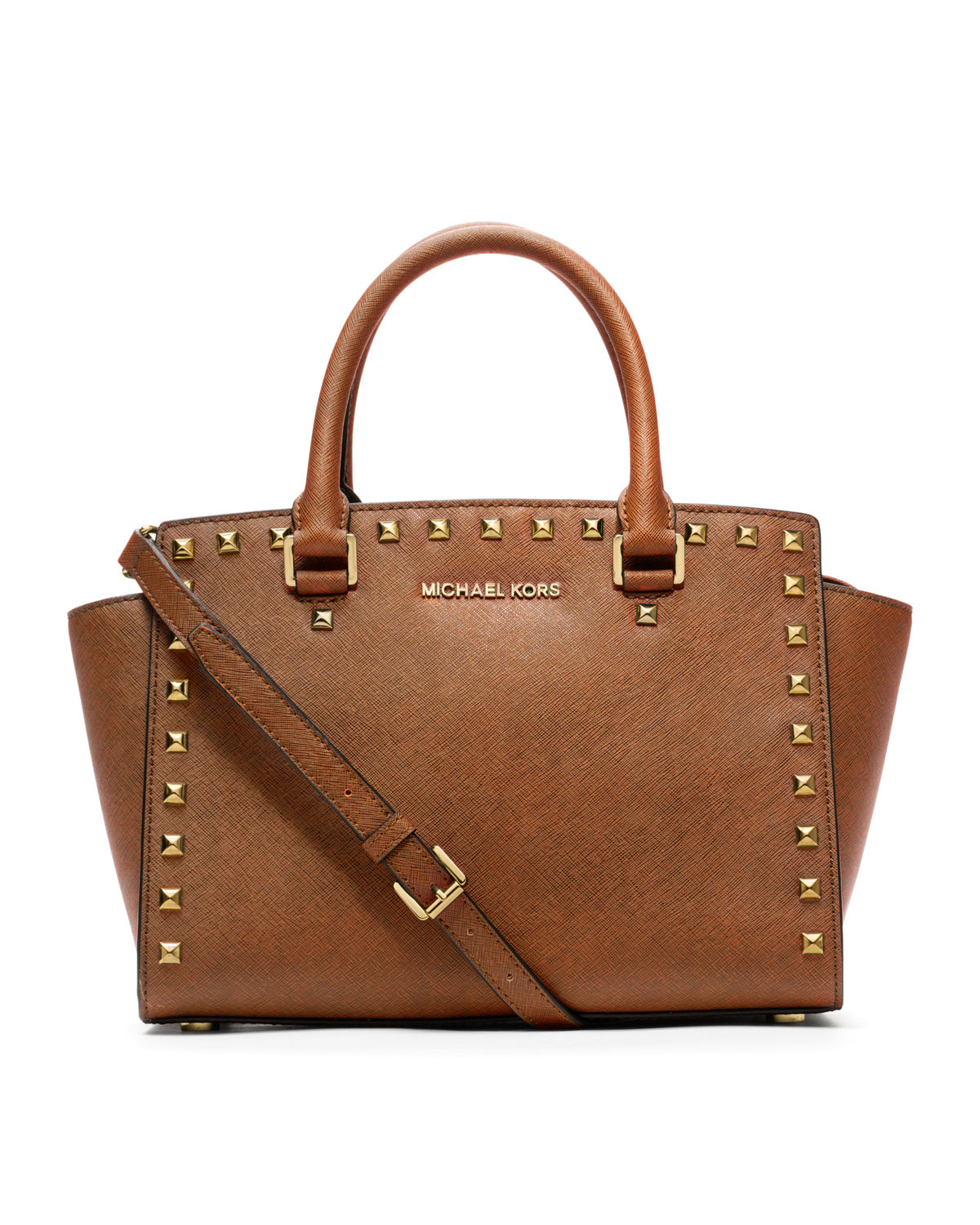 d3341f616907 Michael Michael Kors Medium Selma Studded Saffiano Tote in Brown (LUGGAGE)  | Lyst