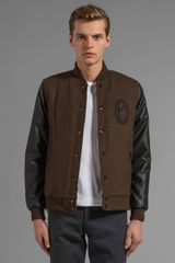 Obey The O Varsity Jacket with Faux Leather Sleeve in Army - Lyst