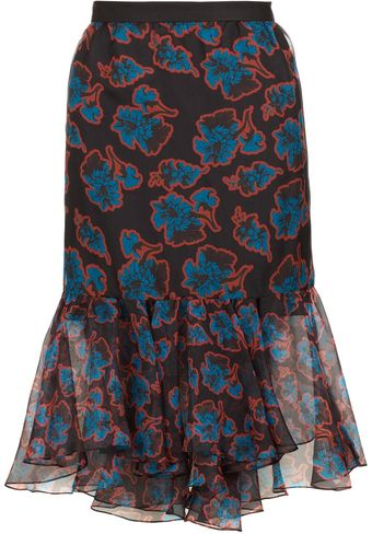 Peter Som Black Acid Floral Ruffle Skirt - Lyst