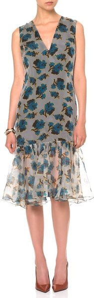 Peter Som Blue Acid Floral Ruffle Dress - Lyst