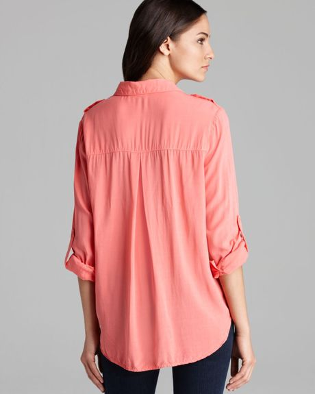 Sam & Lavi Shirt Solid Marni Voile Button Down In Pink