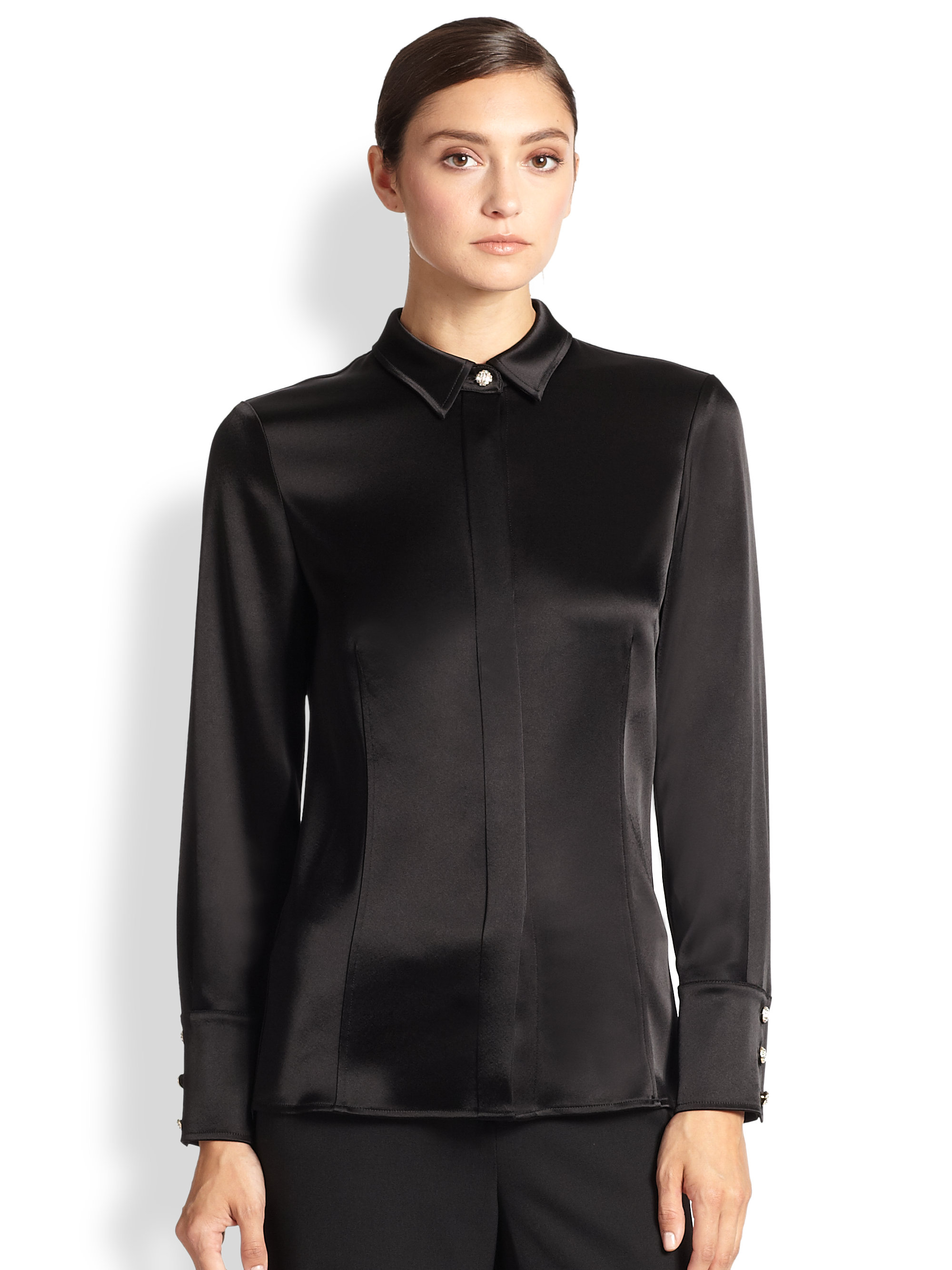 St. john Liquid Satin Blouse in Black | Lyst