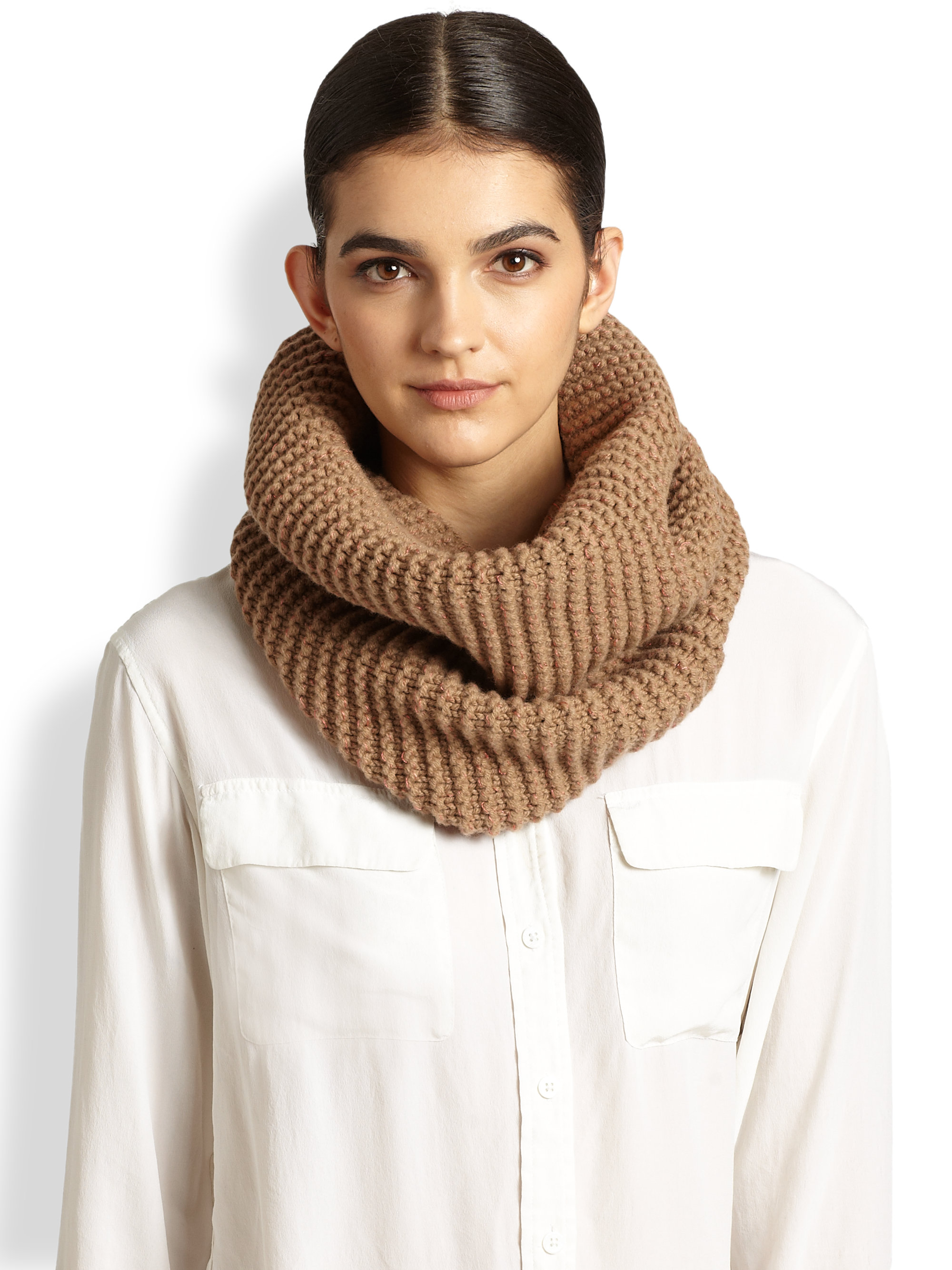 Lyst - Stella Mccartney Knit Circle Scarf in Natural