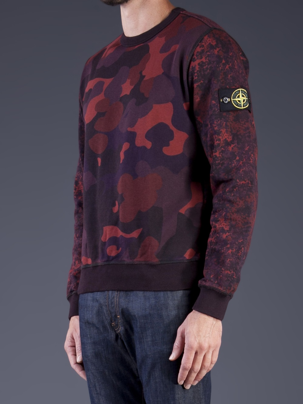 stone island camo print sweatshirt in red for men lyst. Black Bedroom Furniture Sets. Home Design Ideas