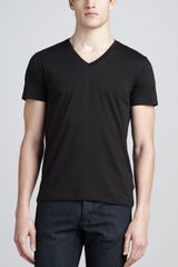 Theory V-neck Silk-cotton Tee - Lyst