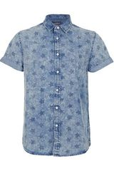 Topman Blue Acid Wash Stars Short Sleeve Denim Shirt - Lyst