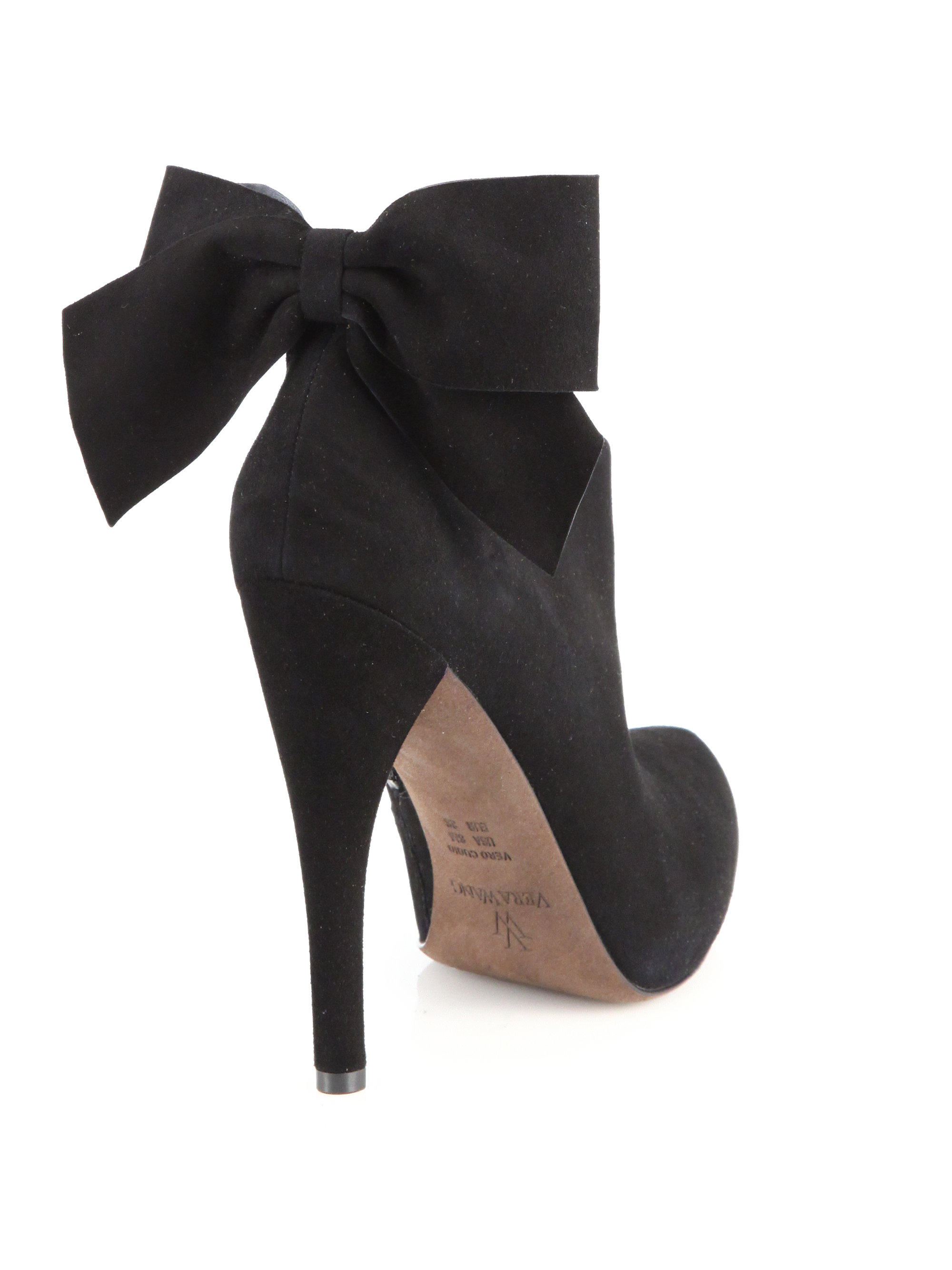 Vera wang lavender Jude Suede Bow Ankle Boots in Black | Lyst