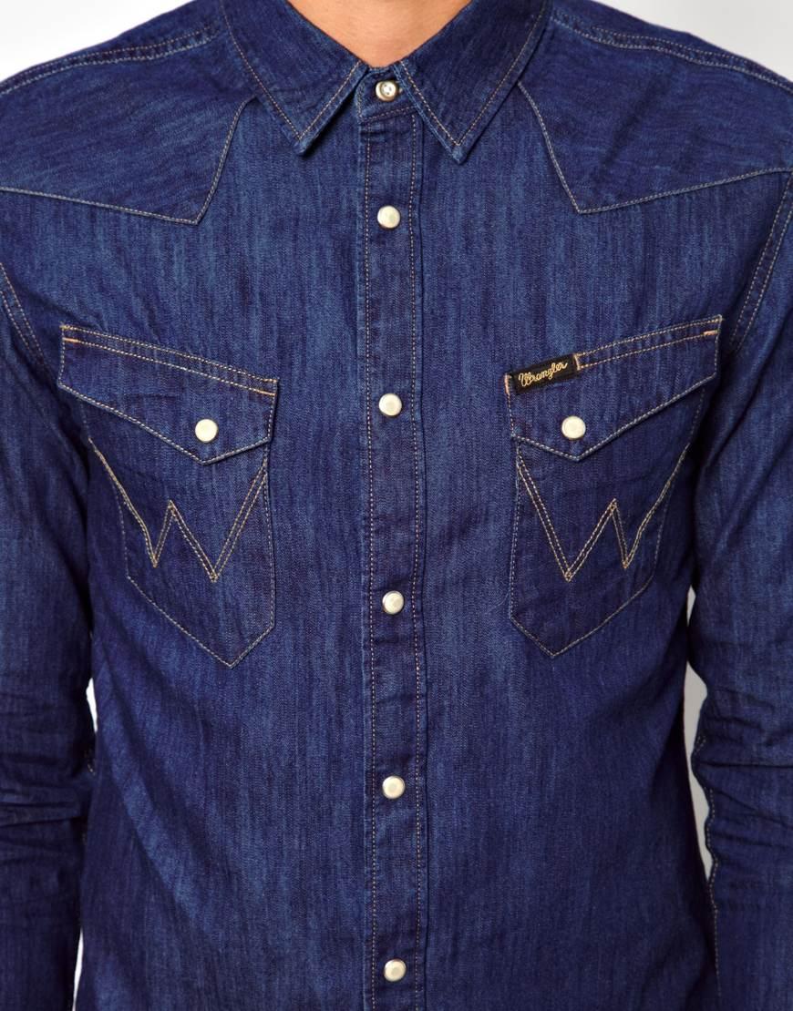 7aecc38195d Lyst - ASOS Wrangler Denim Shirt in Blue for Men