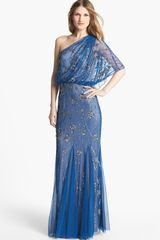 Adrianna Papell Beaded One Shoulder Gown - Lyst