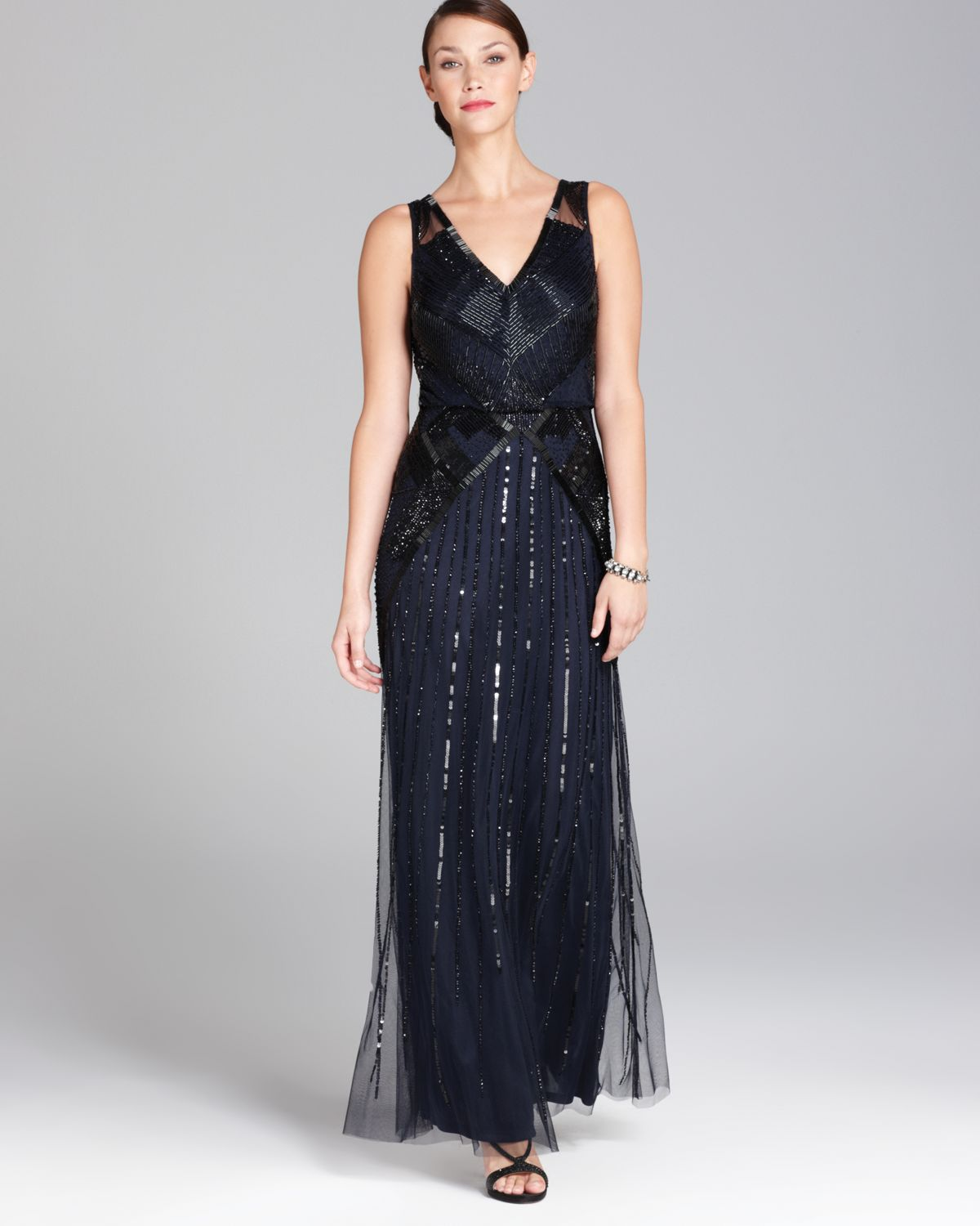 Aidan mattox V Neck Blouson Beaded Gown Sleeveless in Blue | Lyst