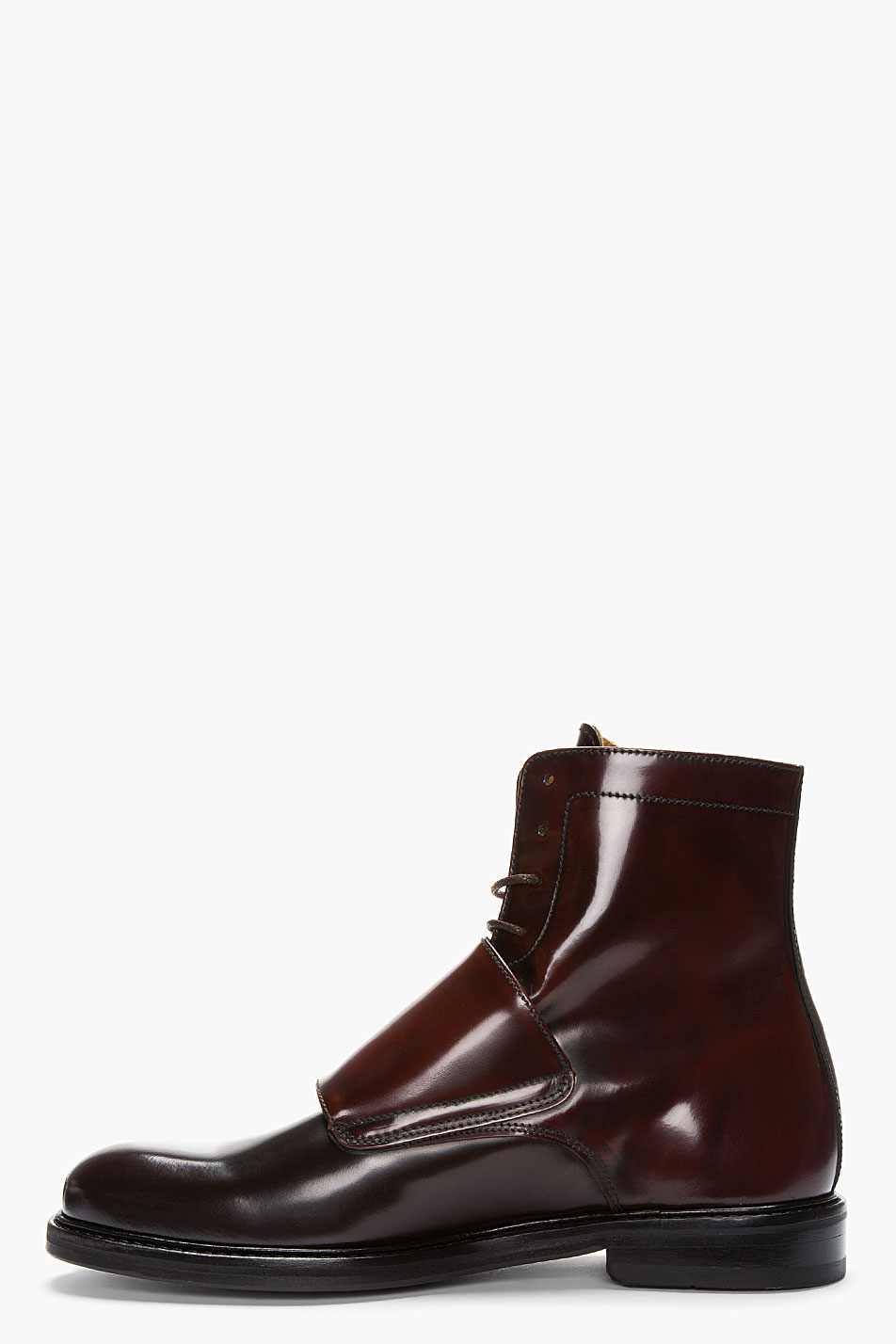 Lyst Carven Mahogany Two Tone Monk Strap Boots In Brown