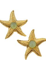 Devon Leigh Starfish Chalcedony Clipon Earrings - Lyst