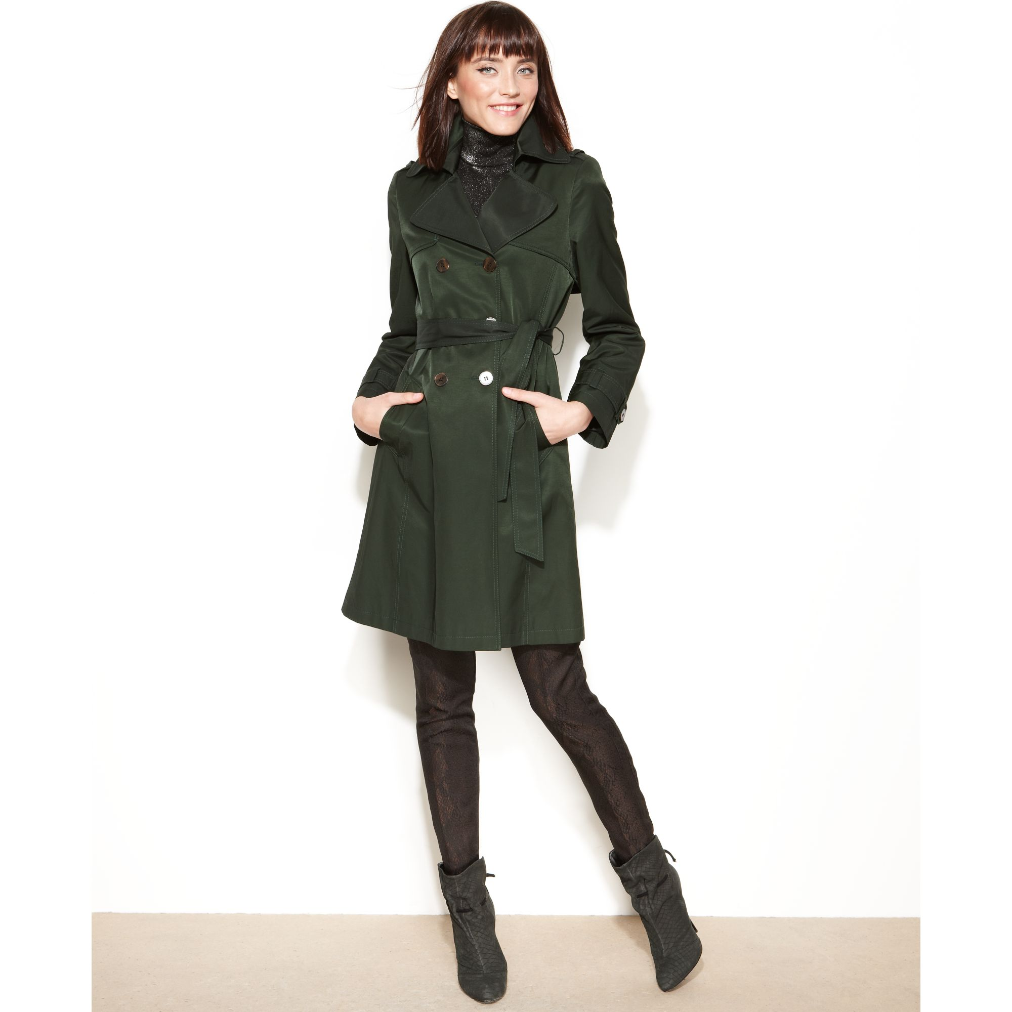 Army green belted coat