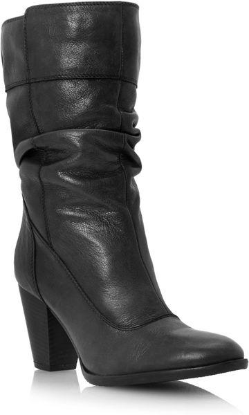 dune rad slouch block heel calf boots in black black