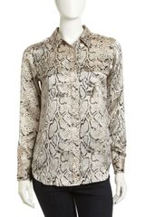 Equipment Signature Python-print Silk Blouse Natural - Lyst