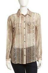 Equipment Signature Snake-print Silk Blouse Natural - Lyst