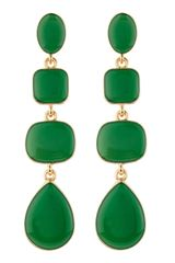 Kenneth Jay Lane Enamel Quadrupledrop Earrings Green - Lyst