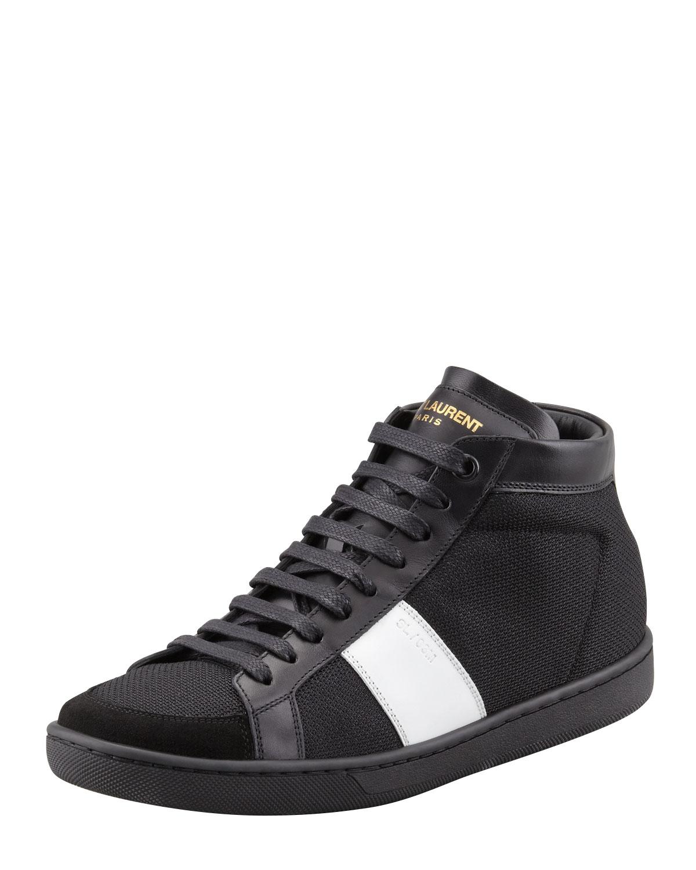 saint laurent mesh leather mid top sneaker in black for men black white lyst. Black Bedroom Furniture Sets. Home Design Ideas