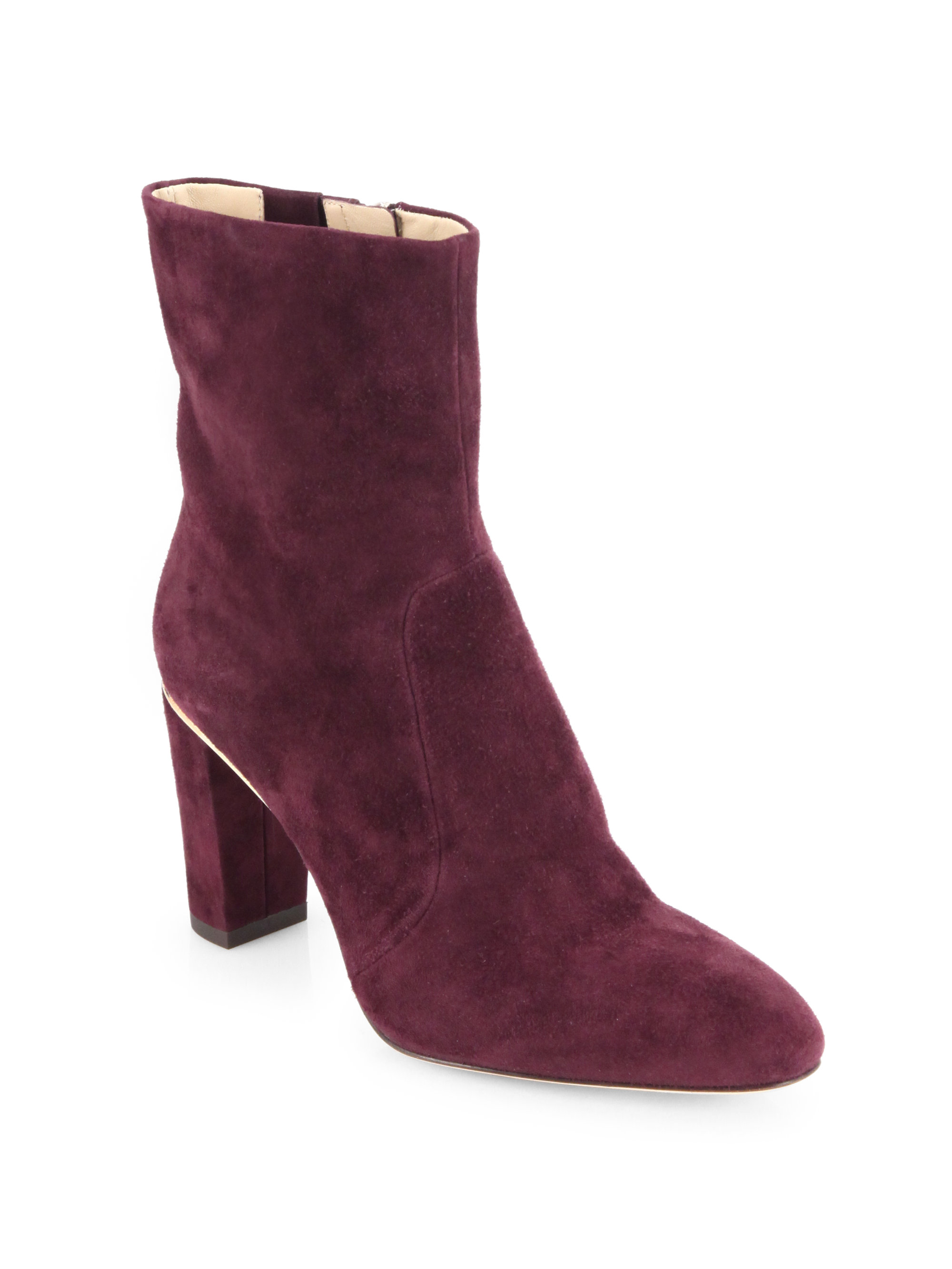 b brian atwood christelle suede ankle boots in purple