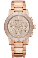 Burberry Womens Swiss Chronograph Rose Gold Ion Plated Stainless Steel Bracelet 38mm - Lyst