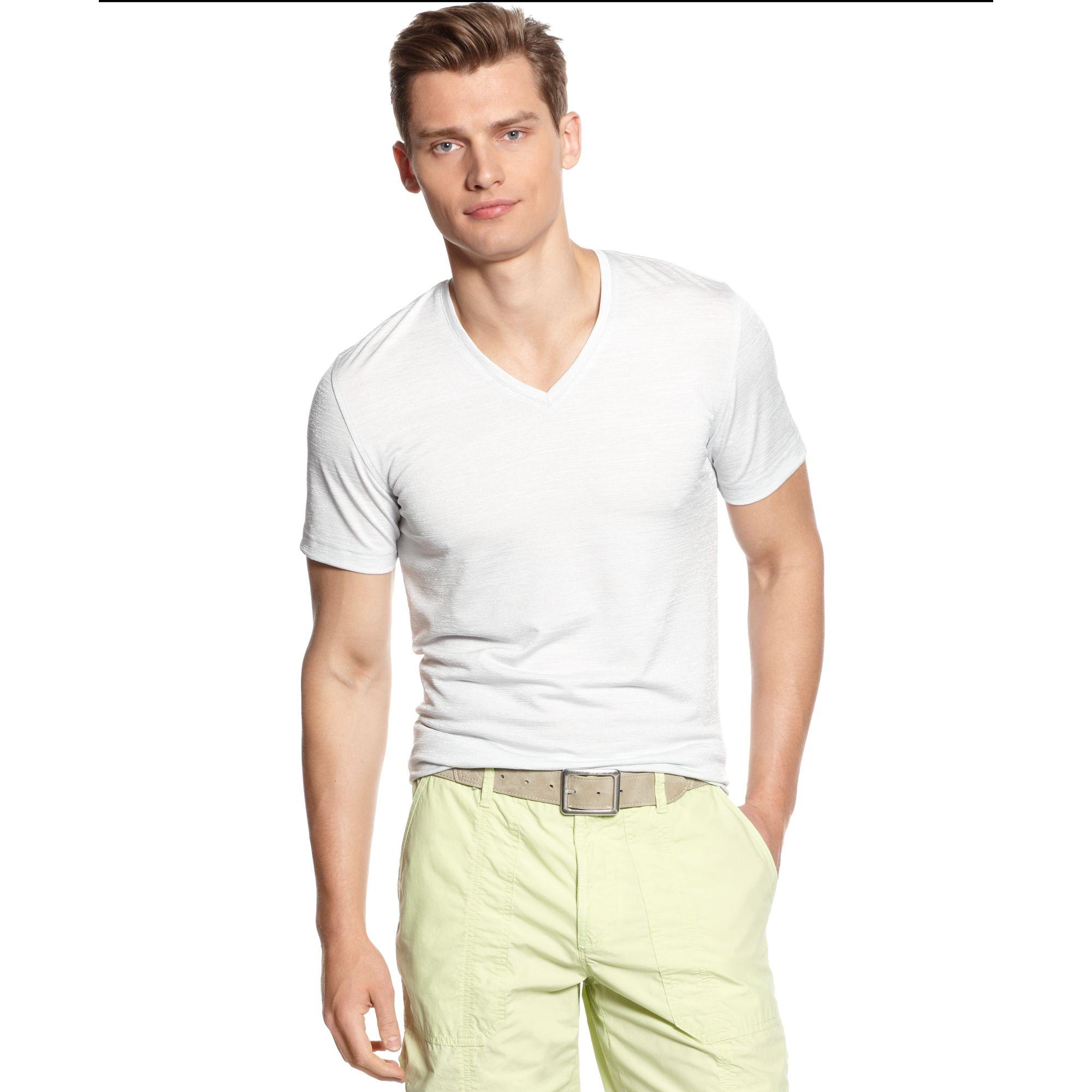 Calvin Klein Short Sleeve Ultra Slim Deep V Neck Textured
