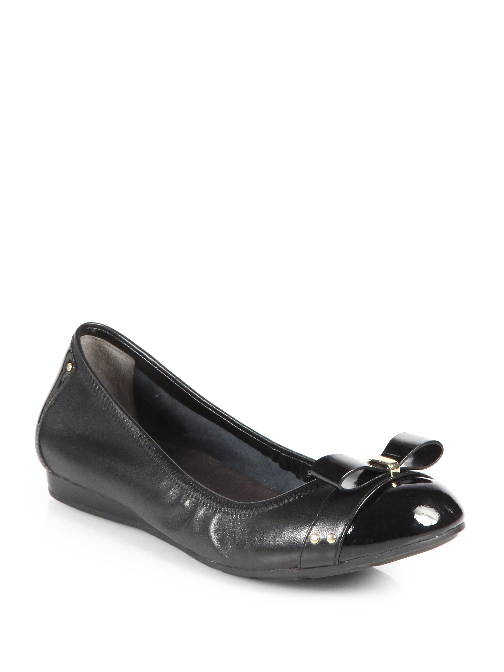 Cole Haan Monica Leather Air Ballet Flats In Black Lyst