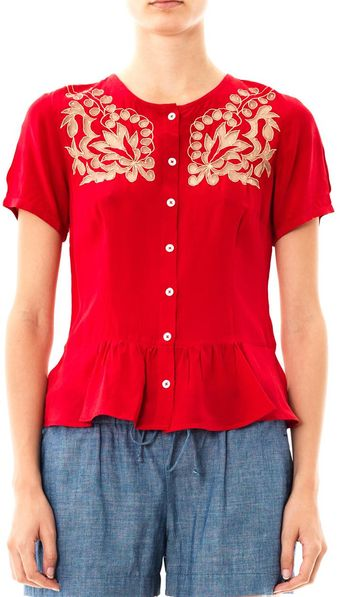 Collette By Collette Dinnigan Puerto Rico Embroidered Silk Top - Lyst