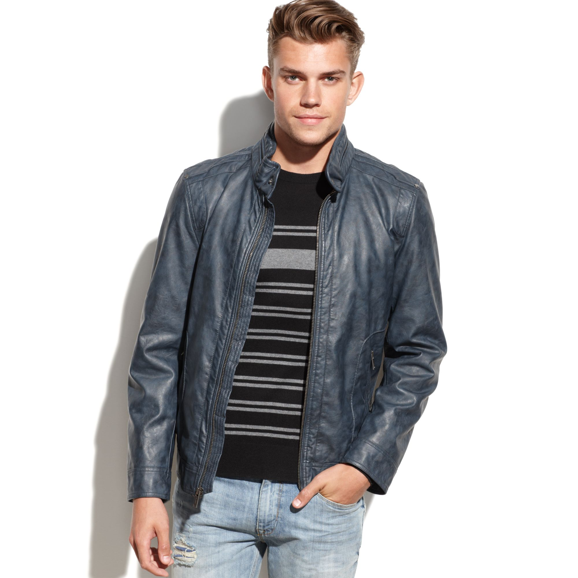 Lyst Guess Coats Lightweight Faux Leather Moto Jacket In Blue For Men